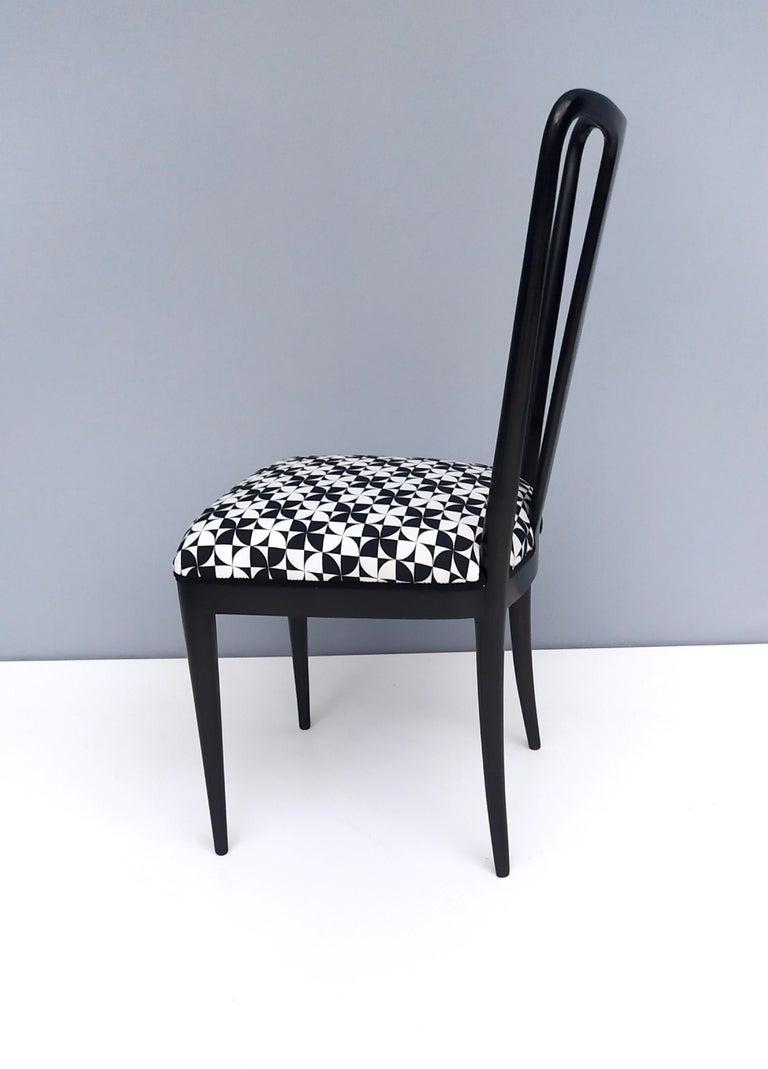 Set of Six Patterned Ebonized Walnut Chairs by Guglielmo Ulrich, Italy For Sale 1