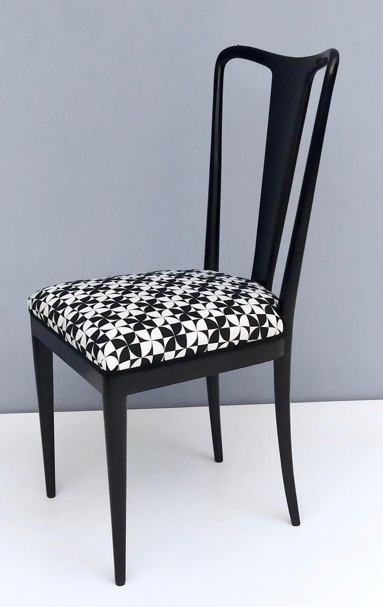 Set of Six Patterned Ebonized Walnut Chairs by Guglielmo Ulrich, Italy For Sale 2