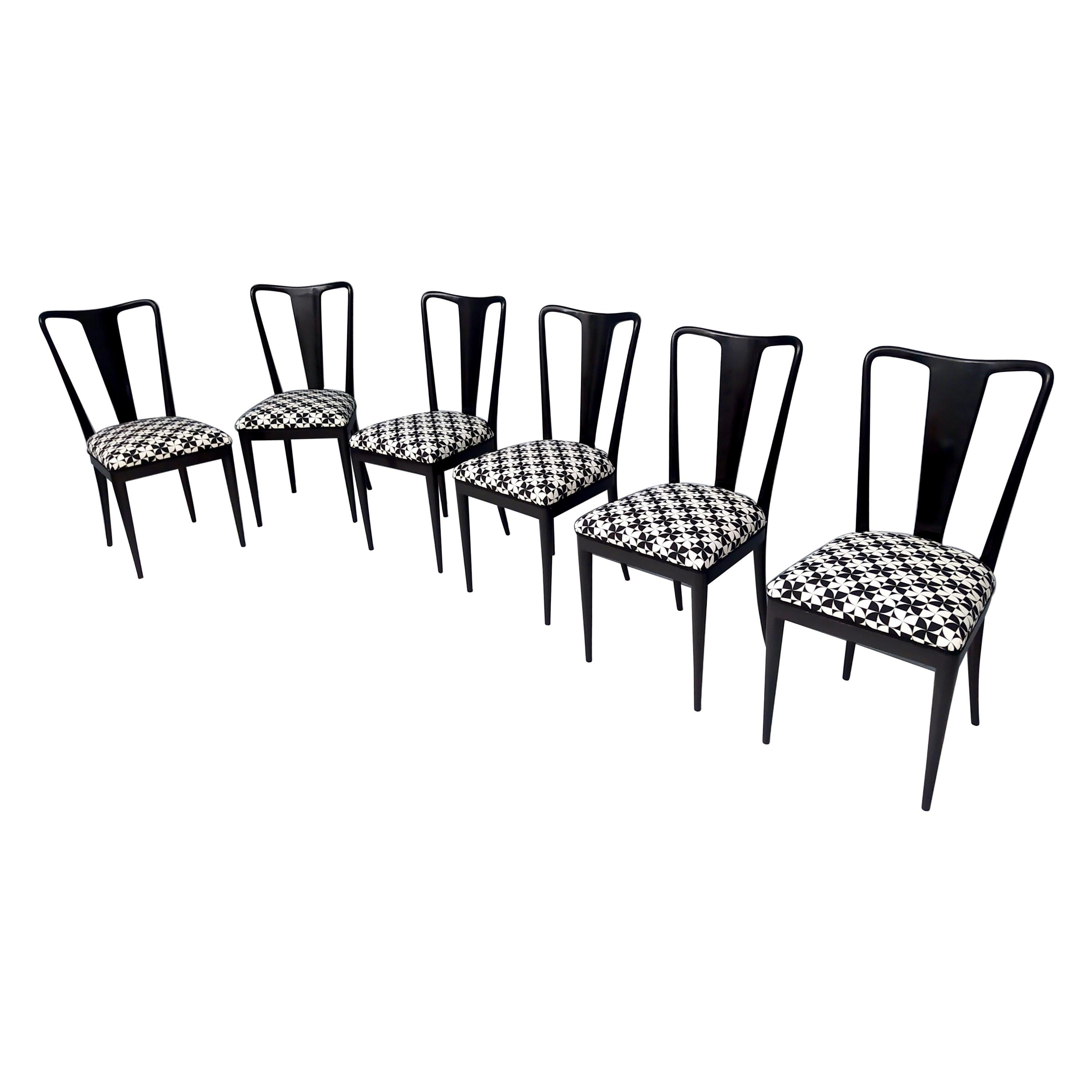 Set of Six Patterned Ebonized Walnut Chairs by Guglielmo Ulrich, Italy