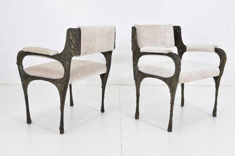 Set of Six Paul Evans Brutalist Sculpted Bronze and Resin Dining Chairs, 1972 For Sale 4