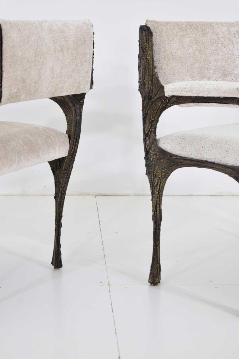 Set of Six Paul Evans Brutalist Sculpted Bronze and Resin Dining Chairs, 1972 For Sale 6