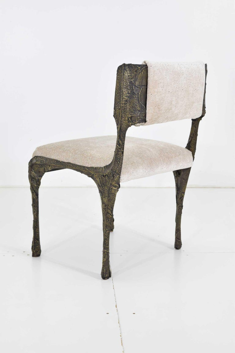 Set of Six Paul Evans Brutalist Sculpted Bronze and Resin Dining Chairs, 1972 For Sale 8