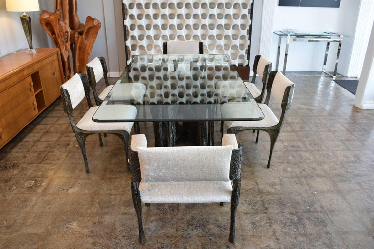 Set of Six Paul Evans Brutalist Sculpted Bronze and Resin Dining Chairs, 1972 For Sale 1