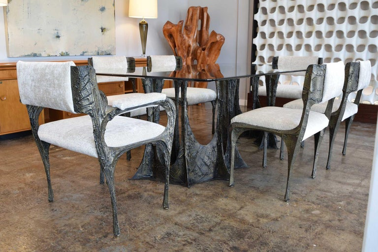 Set of Six Paul Evans Brutalist Sculpted Bronze and Resin Dining Chairs, 1972 For Sale 2