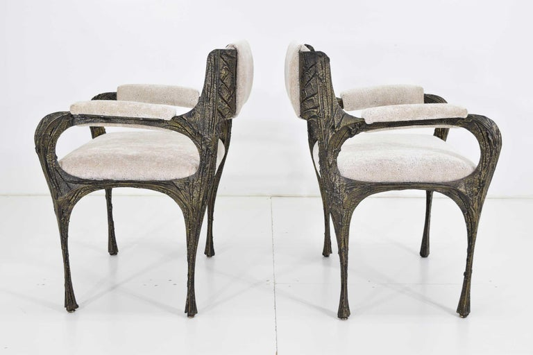 Set of Six Paul Evans Brutalist Sculpted Bronze and Resin Dining Chairs, 1972 For Sale 3