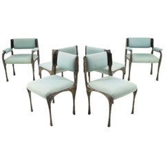 Set of Six Paul Evans Brutalist Sculpted Bronze and Resin Dining Chairs, 1972