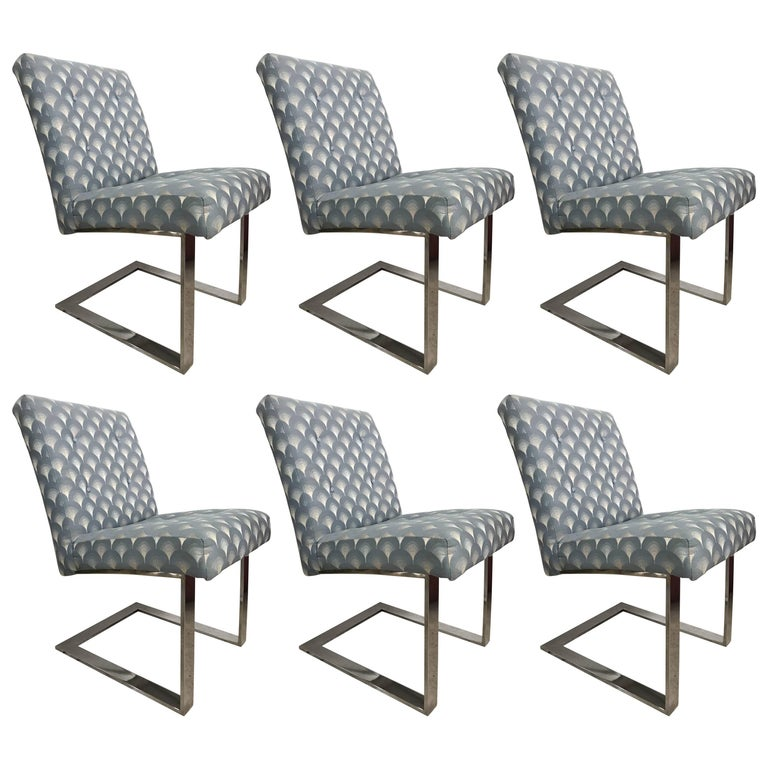 Set of Six Paul Evans Cantelivered Dining Chairs for Directional For Sale