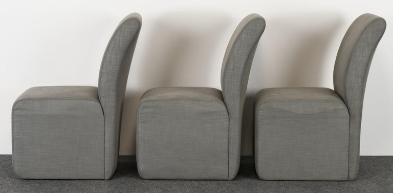 Upholstery Set of Six Paul Evans Dining Chairs, 1982 For Sale