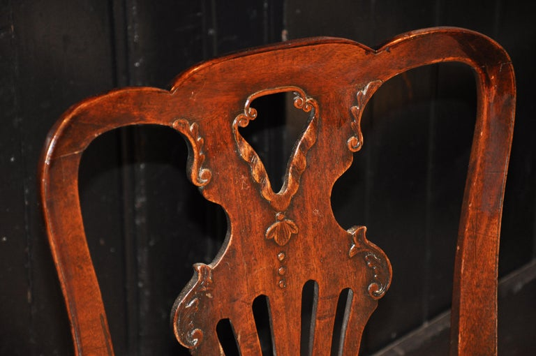 Set of Six Period 18th Century George II Walnut Dining Chairs For Sale 1