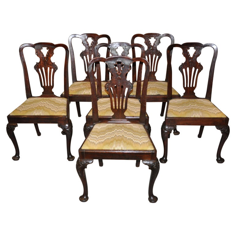 Set of Six Period 18th Century George II Walnut Dining Chairs For Sale