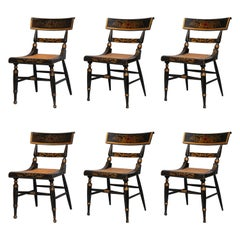 Set of Six Period Painted and Stenciled Baltimore Federal Chairs