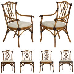 Set of Six Pierce Martin Leather-Bound Rattan Dining Chairs, 21st Century