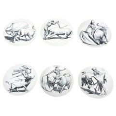 Set of Six Piero Fornasetti Porcelain Tori & Torerj Dinner Plates