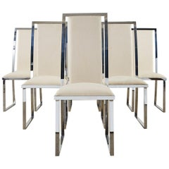 Set of Six Pierre Cardin Flat Bar Chrome Dining Chairs