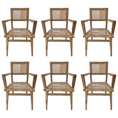 Set of Six Pierre Jeanneret Armchairs