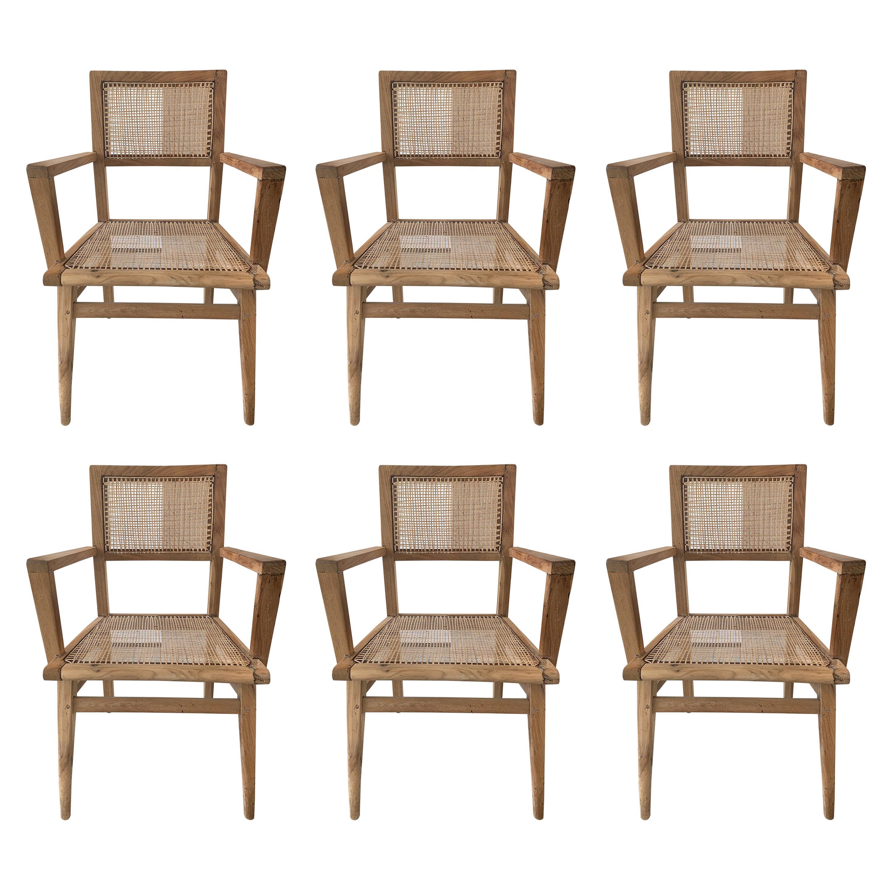 Set of Six Pierre Jeanneret Armchairs