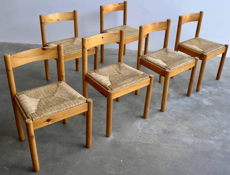 Set of six pine and wicker chairs in style of Charlotte Perriand.