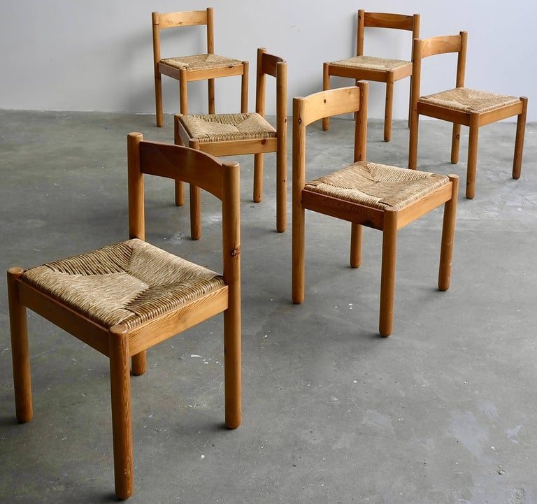 Mid-Century Modern Set of Six Pine and Wicker Chairs in Style of Charlotte Perriand For Sale
