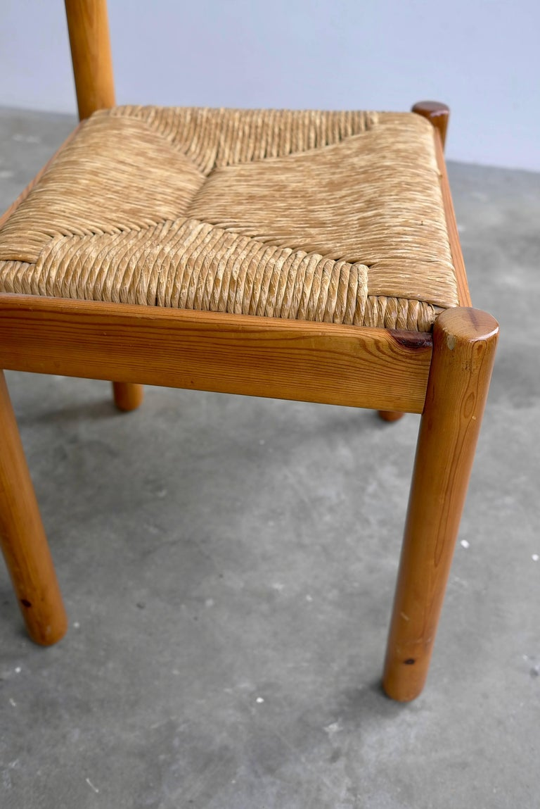 Mid-20th Century Set of Six Pine and Wicker Chairs in Style of Charlotte Perriand For Sale