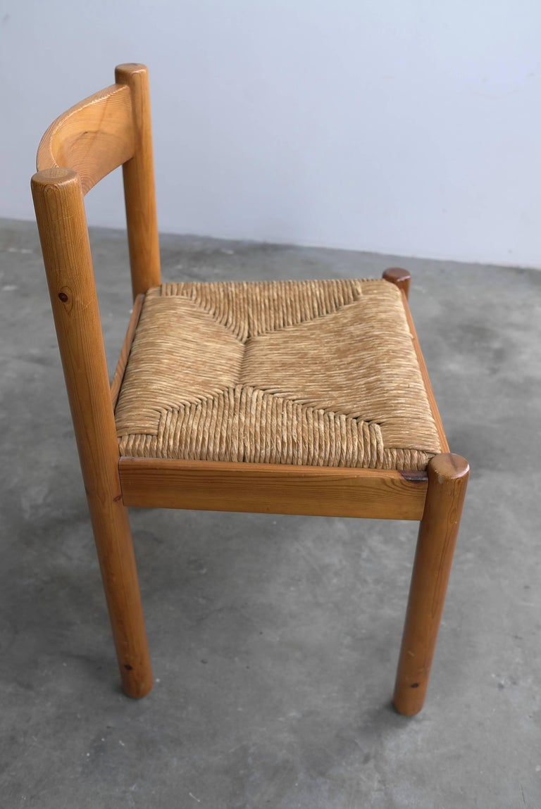 Set of Six Pine and Wicker Chairs in Style of Charlotte Perriand For Sale 1