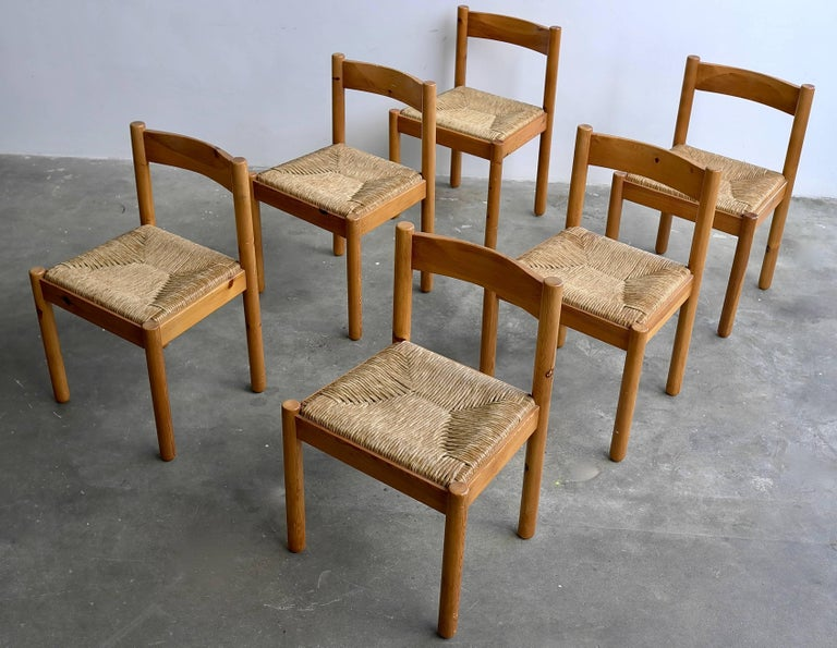 Set of Six Pine and Wicker Chairs in Style of Charlotte Perriand For Sale 3