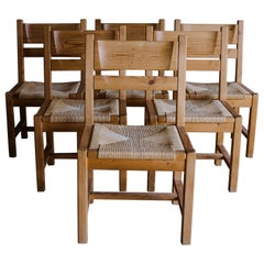 Set of Six Pine Dining Chairs from Sweden, circa 1960
