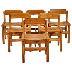 Set of Six Pine Dining Chairs with Rotating Backs