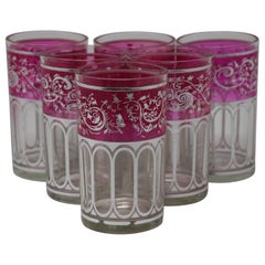 Set of Six Pink Glasses with Silver Raised Moorish Design
