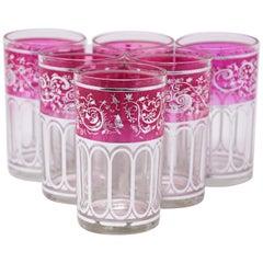Set of Six Pink Glasses with Silver Raised Moorish Design