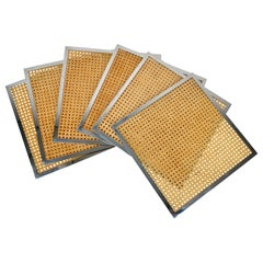 Set of Six Placemats in Lucite Wicker and Chrome, Christian Dior, France, 1970s