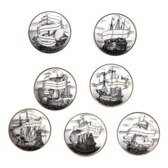 Set of Seven Plates 'Velieri' by Piero Fornasetti, 1960s