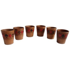 Set of Six Playing Card Themed Tooled Leather Dice Cups
