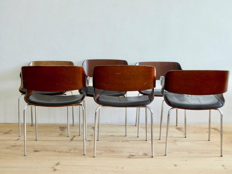 Mid-Century Modern Set of Six Plywood Dining Room Chairs by Eugen Schmidt, Germany, 1966 For Sale