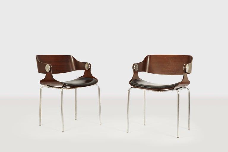Set of Six Plywood Dining Room Chairs by Eugen Schmidt, Germany, 1966 In Good Condition For Sale In Dusseldorf, DE