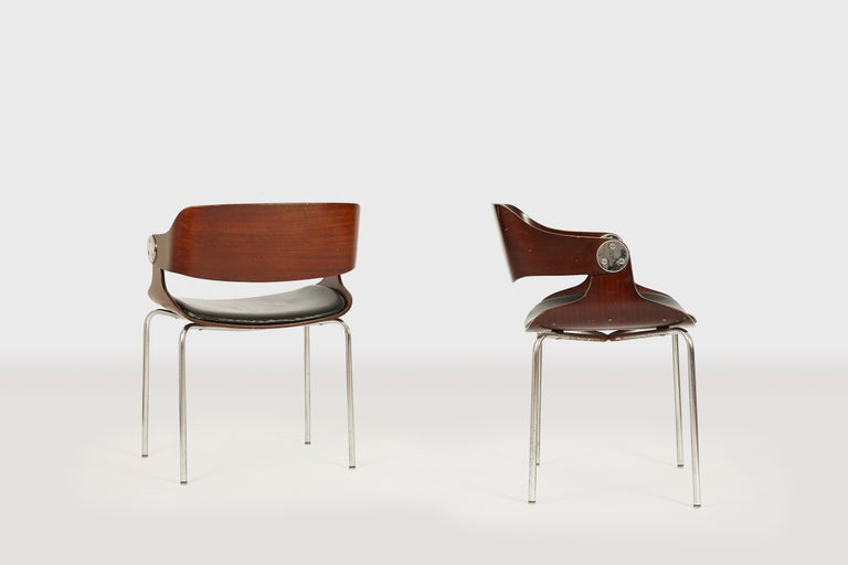 Mid-20th Century Set of Six Plywood Dining Room Chairs by Eugen Schmidt, Germany, 1966 For Sale