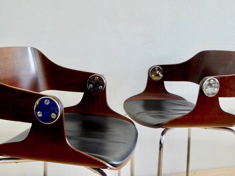 Metal Set of Six Plywood Dining Room Chairs by Eugen Schmidt, Germany, 1966 For Sale