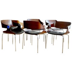 Set of Six Plywood Dining Room Chairs by Eugen Schmidt, Germany, 1966