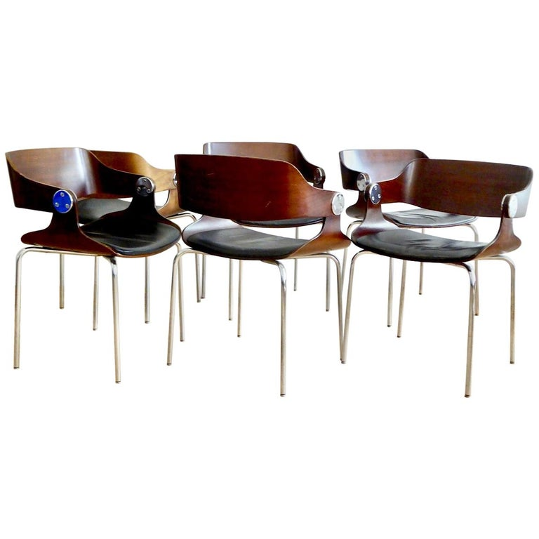 Set of Six Plywood Dining Room Chairs by Eugen Schmidt, Germany, 1966 For Sale