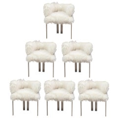 Set of Six Polished Nickel and Mongolian Fur Dining Chairs
