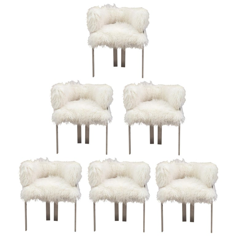 Set of six polished nickel and Mongolian fur dining chairs, 2000s, offered by On Madison