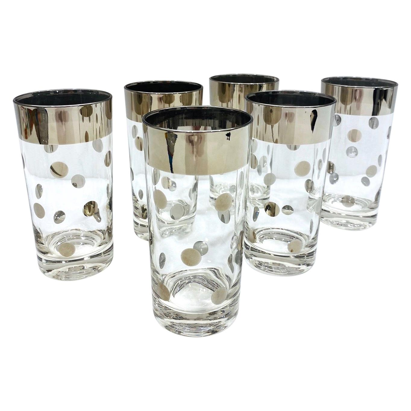 Set of Six Polka Dot Barware Glasses with Silver Overlay by Dorothy Thorpe, 1960
