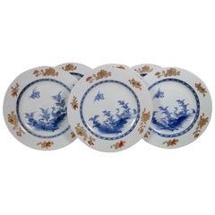 Set of Six Polychrome Export Plates Qianlong, circa 1760