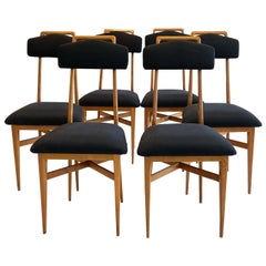 Set of Six Ponti Style Dining Chairs Italian Mid-Century Modern
