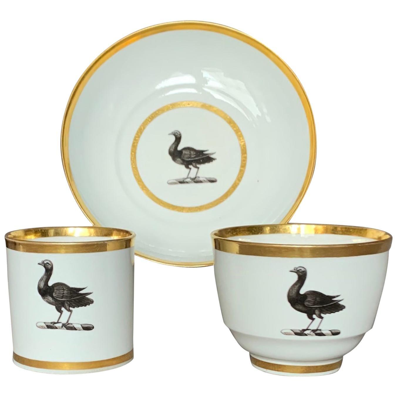 Set of Six Porcelain Bird Teacup Trios