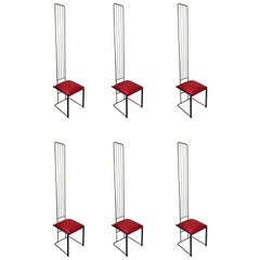 Set of Six Postmodern High Back Dining Chairs