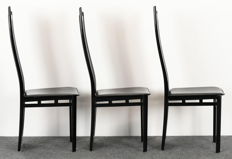 Set of Six Postmodern Italian Sibau Dining Chairs, 1980s 3