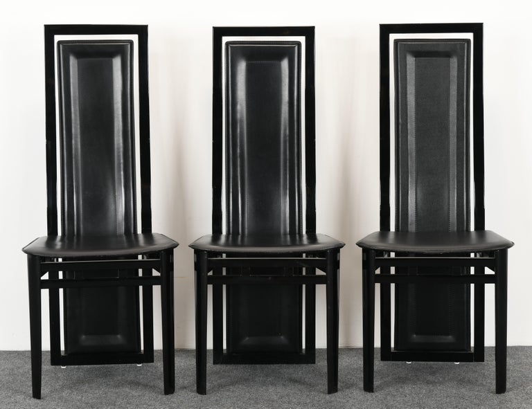 Mid-Century Modern Set of Six Postmodern Italian Sibau Dining Chairs, 1980s