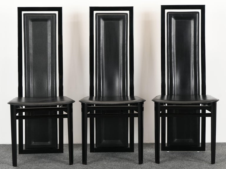 Ebonized Set of Six Postmodern Italian Sibau Dining Chairs, 1980s