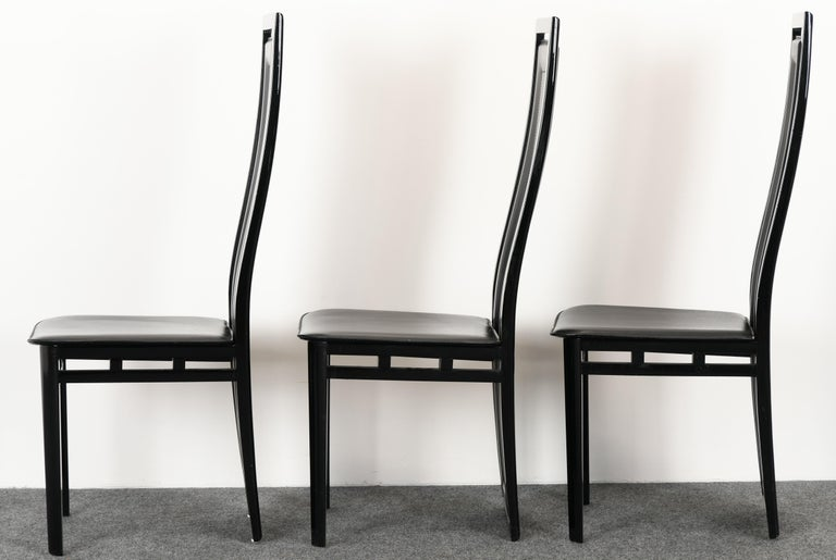 Set of Six Postmodern Italian Sibau Dining Chairs, 1980s 1