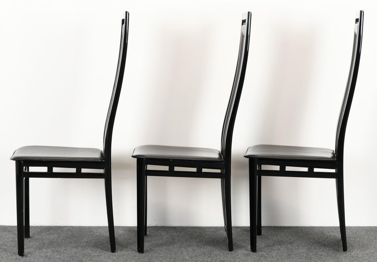 Set of Six Postmodern Italian Sibau Dining Chairs, 1980s 2